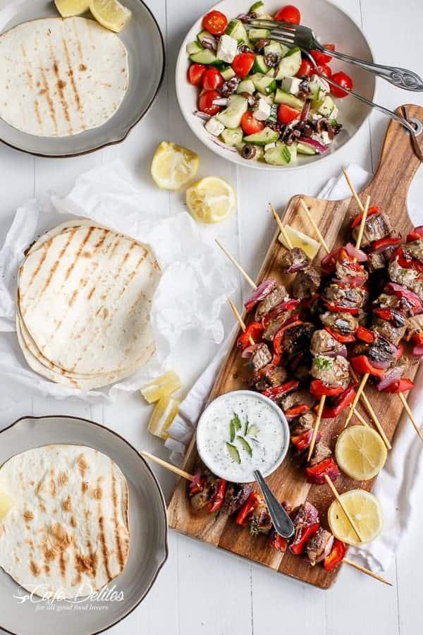 Greek Style Lamb Skewers with a Greek Yogurt Sauce-5