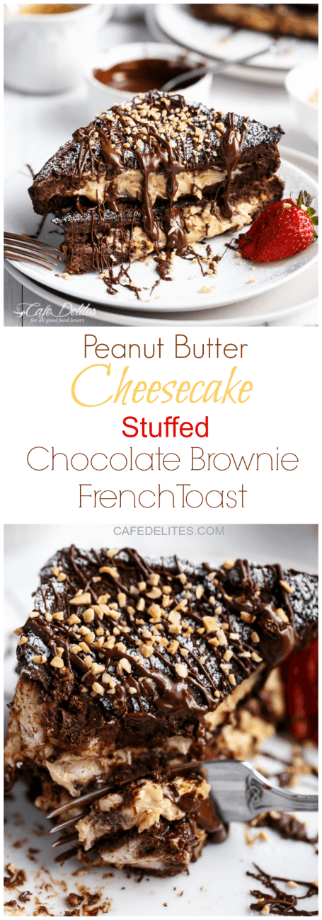 Peanut Butter Cheesecake Stuffed Chocolate Brownie French Toasts | https://cafedelites.com