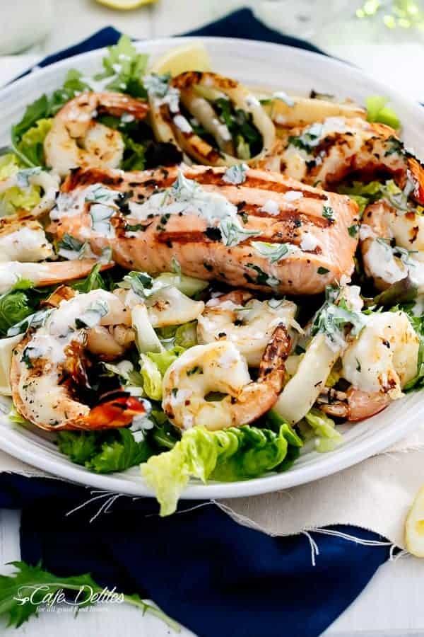 Seafood Salad with Garlicky Greek Yogurt Dressing   http://cafedelites.com