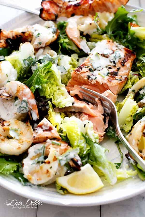 Barbecued Seafood Salad with Garlicky Greek Yogurt Dressing