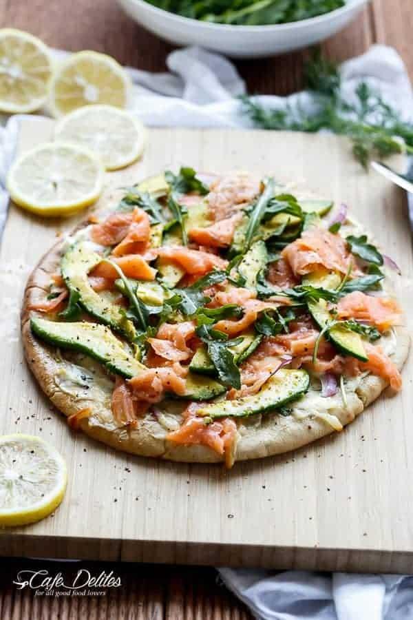 Smoked Salmon and Avocado Pizza   https://cafedelites.com