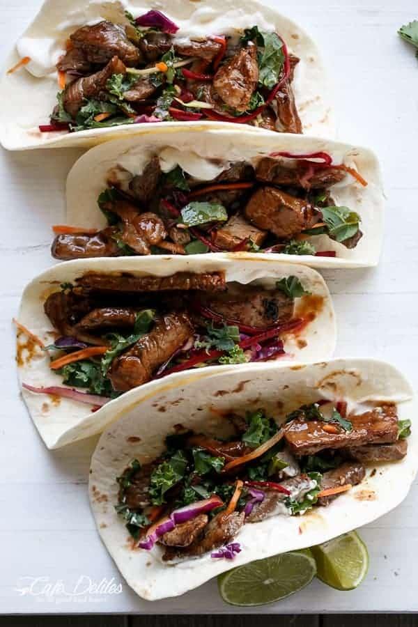 Korean Bulgogi Bbq Beef Tacos with Kale Slaw | https://cafedelites.com