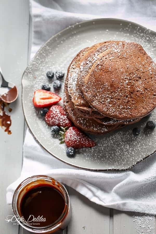 Double Chocolate Brownie Pancakes | http://cafedelites.com