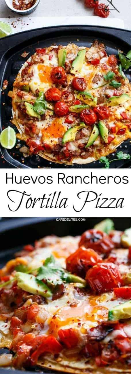 Huevos Rancheros Tortizza (Tortilla Pizza)   http://cafedelites.com