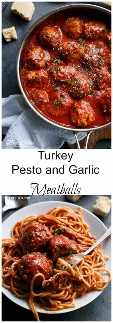 Turkey Pesto and Garlic Meatballs | http://cafedelites.com