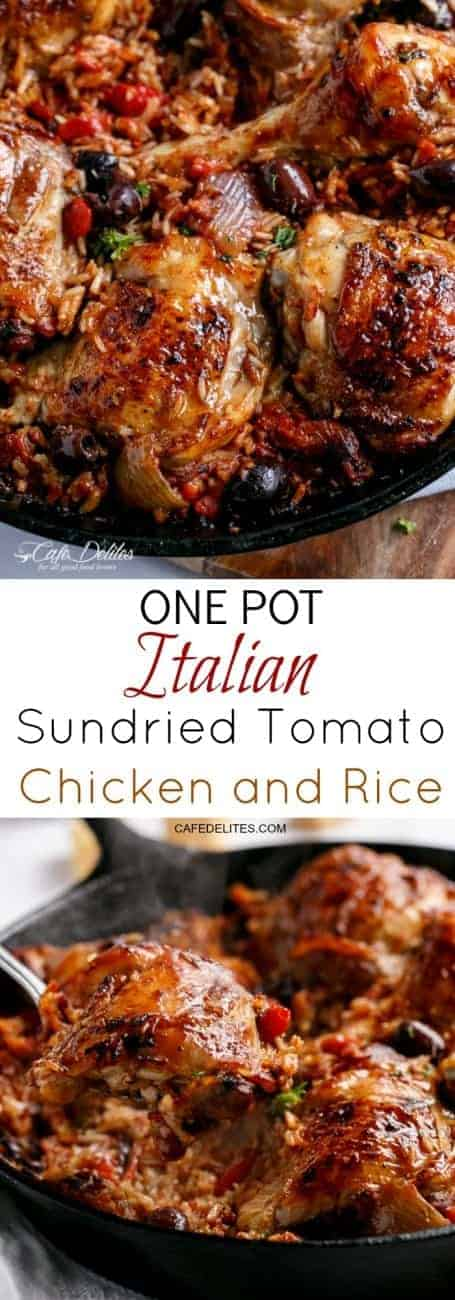 One Pot Italian Sundried Tomato Chicken and Rice | https://cafedelites.com
