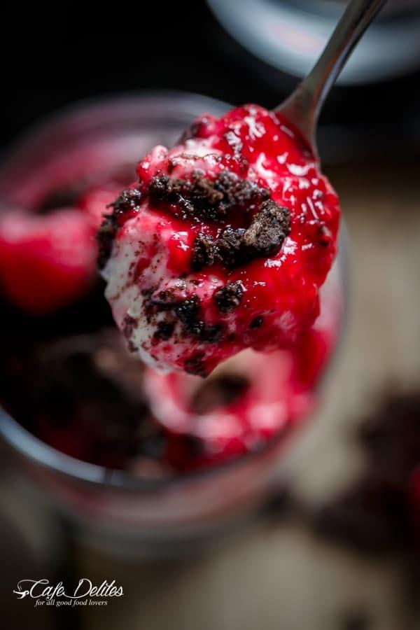Raspberry Oreo No Bake Cheesecake Parfaits | https://cafedelites.com