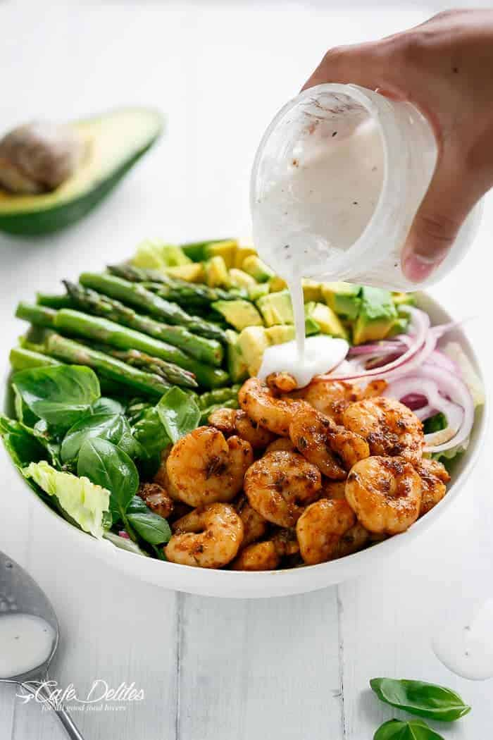 Blackened Shrimp, Asparagus and Avocado Salad | https://cafedelites.com