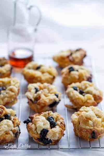 Blueberry Cheesecake Streusel French Toast Muffins | http://cafedelites.com