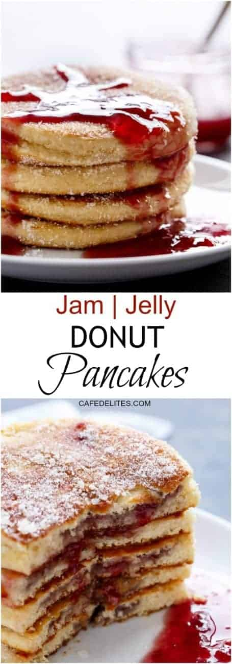 Jam filled Donut Pancakes are the ultimate donuts allowed at breakfast!| https://cafedelites.com