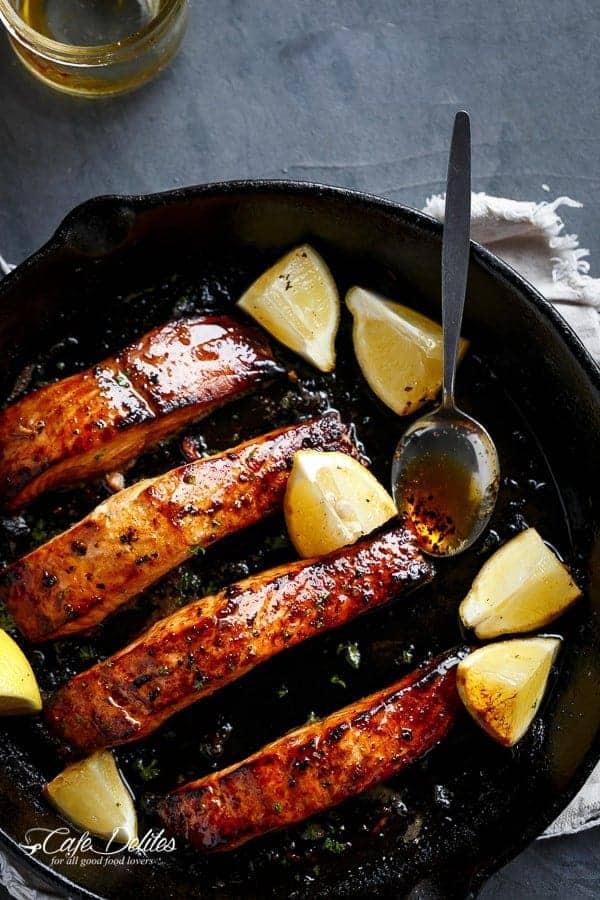 Grilled Browned Butter Honey Garlic Salmon | https://cafedelites.com
