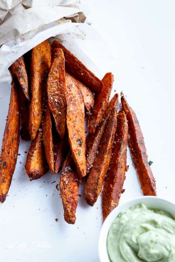 Crispy Sweet Potato Wedges with Garlic Avocado Aioli
