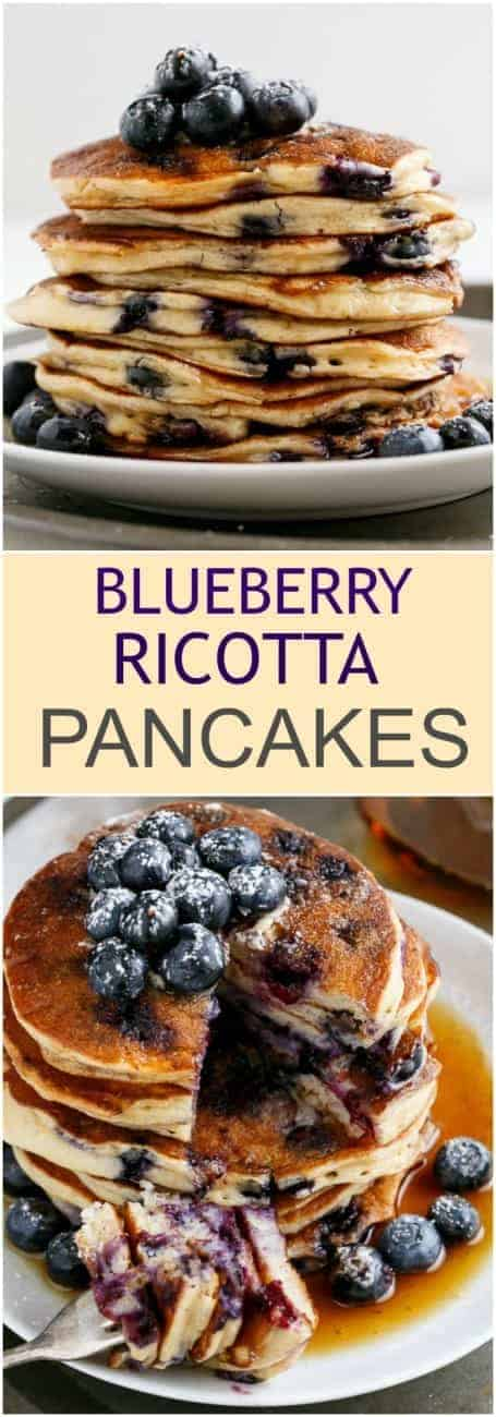 Delicately light and fluffy Blueberry Ricotta Pancakes that melt in your mouth with a delicious sweetness and a hit of juicy blueberries!| http://cafedelites.com