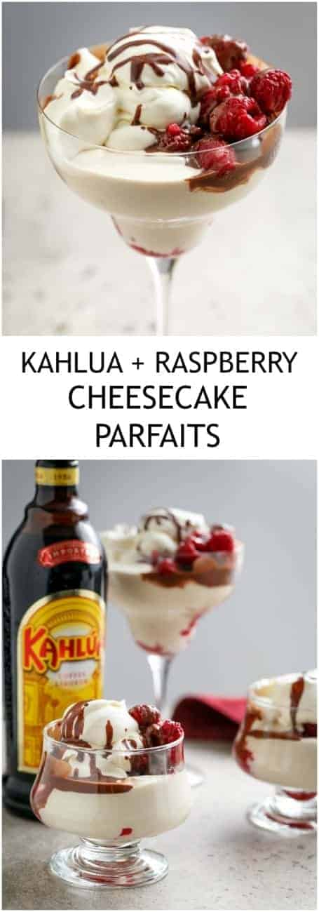 No Bake Creamy Kahlua + Raspberry Cheesecake Parfaits with #LCHF #LowCarb or #WeightWatchers options!| http://cafedelites.com
