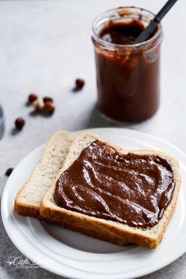 Refined Sugar-Free Nutella Spread | https://cafedelites.com