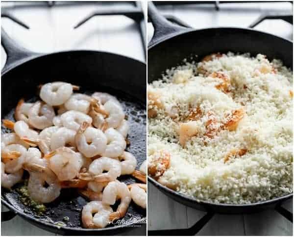 "Creamy Garlic Shrimp (Prawn) Cauliflower ""Risotto"" | https://cafedelites.com"