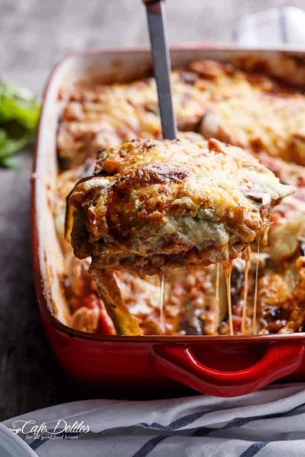 Sausage Eggplant Lasagna With Ricotta Pesto