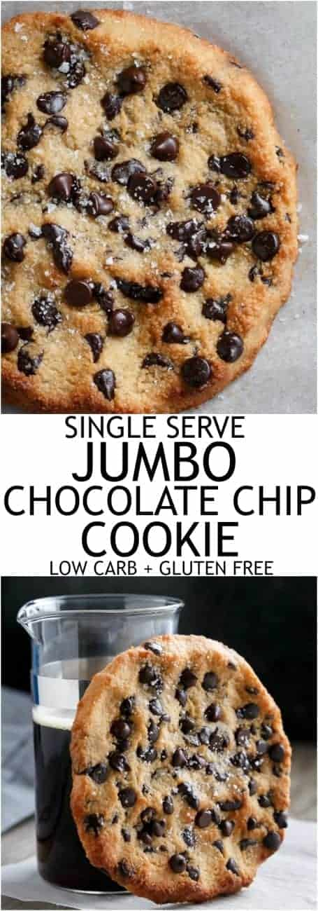 Single Serve Jumbo Low Carb Chocolate Chip Cookie #GlutenFree #LowCarb #LCHF | https://cafedelites.com