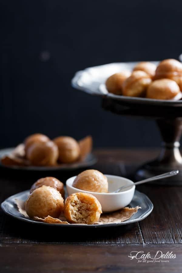 Maple Glazed Apple Fritter Donut Holes | http://cafedelites.com