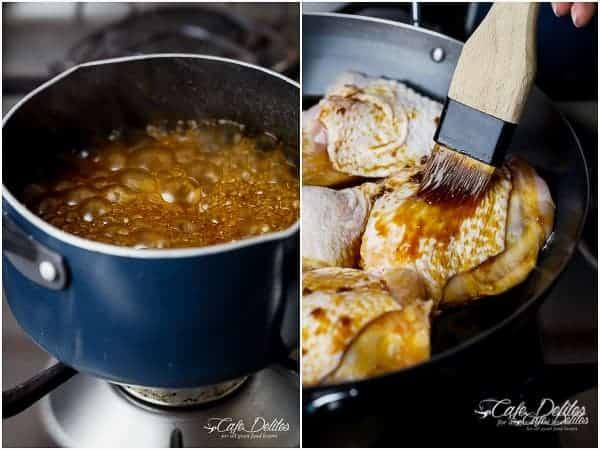 Roasted Asian Glazed Chicken Thighs | https://cafedelites.com