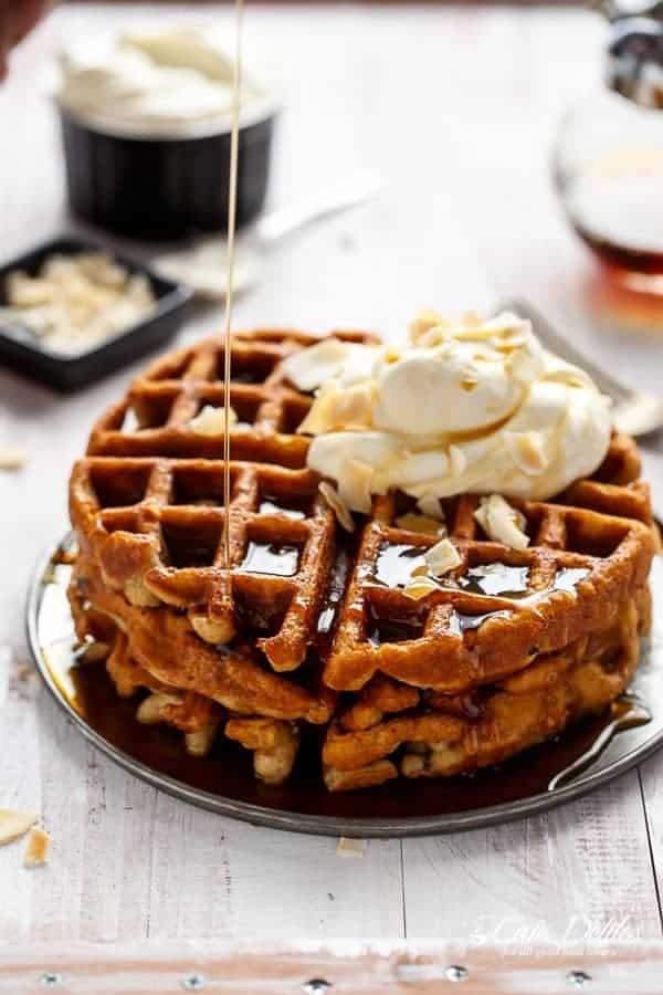 Coconut Cream Pie Waffles | https://cafedelites.com