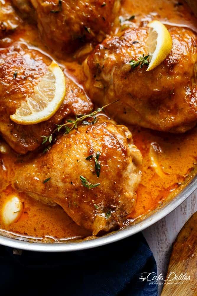 Creamy Lemon Garlic Chicken | https://cafedelites.com