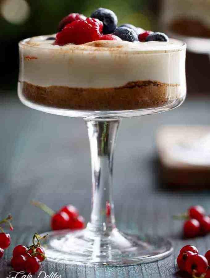 No Bake Eggnog Berry Cheesecakes