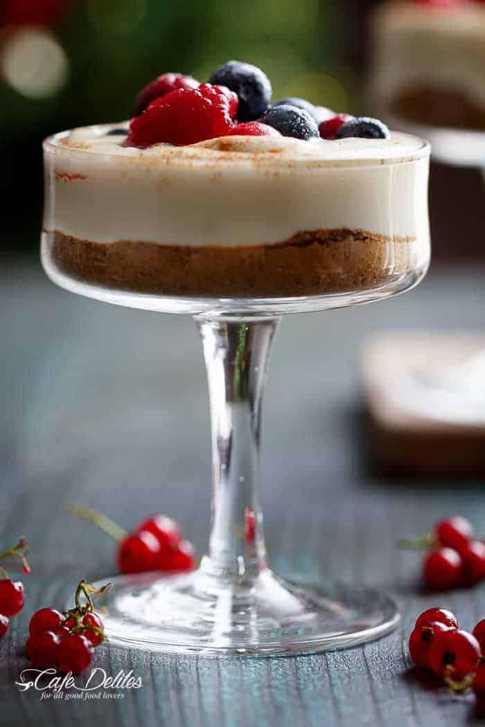 No Bake Eggnog Berry Cheesecakes | https://cafedelites.com