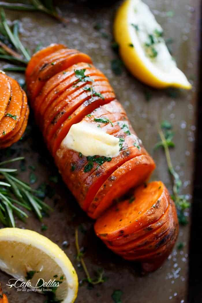 Hasselback Herbed Garlic Butter Sweet Potatoes | https://cafedelites.com