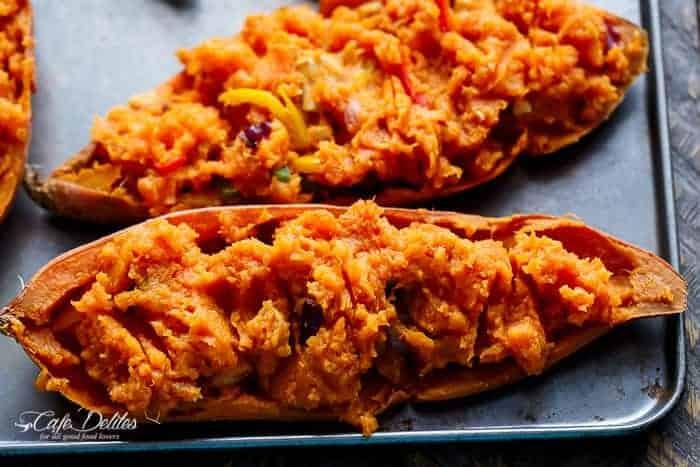 Twice Baked Chicken Fajita Sweet Potatoes   https://cafedelites.com