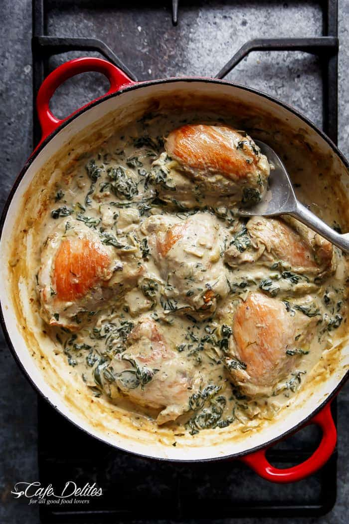 Creamy Spinach Artichoke Chicken Thighs | http://cafedelites.com