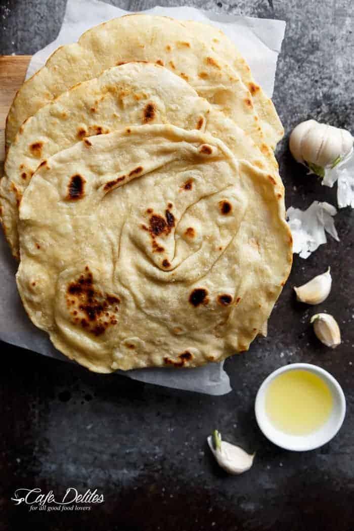 Easy Garlic Flatbread Recipe | https://cafedelites.com