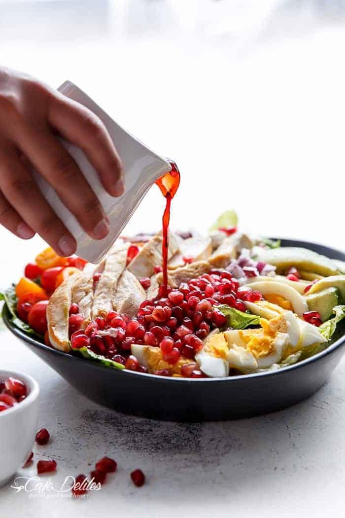 Pomegranate Chicken Bacon Avocado Salad   http;//cafedelites.com