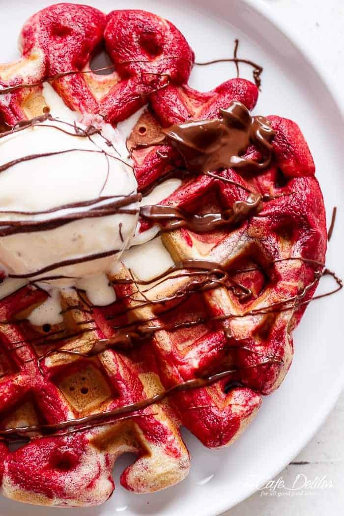 Red Velvet Marbled Waffles | https://cafedelites.com