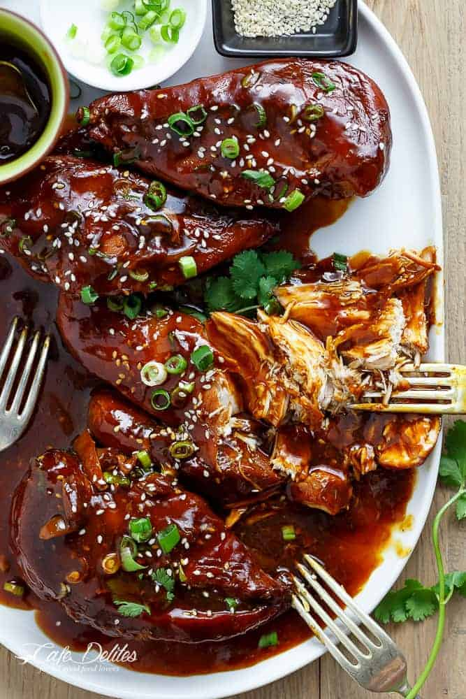 Slow Cooker Asian Glazed Chicken | http://cafedelites.com
