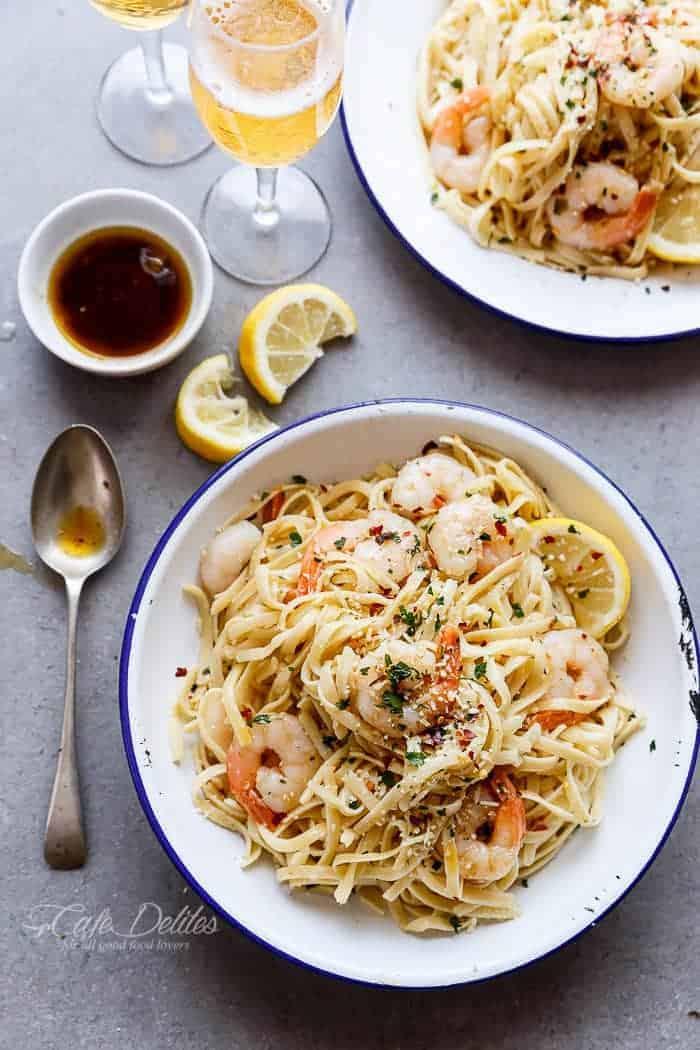 Browned Butter Shrimp Scampi with Parmesan Pasta! Recipe includes a VIDEO!   https://cafedelites.com