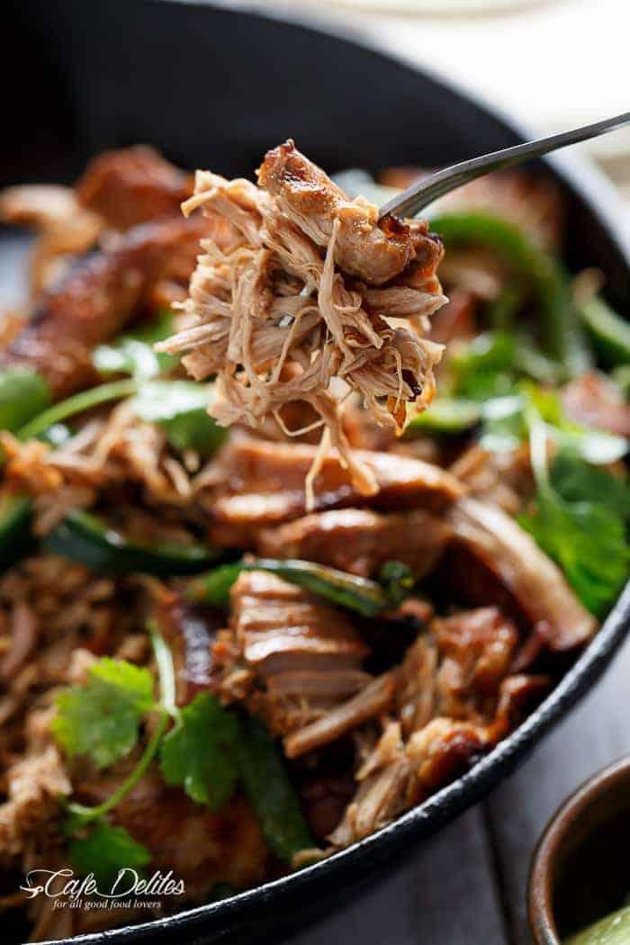 Crispy Slow Cooker Pork Carnitas (Mexican Pulled Pork) | https://cafedelites.com