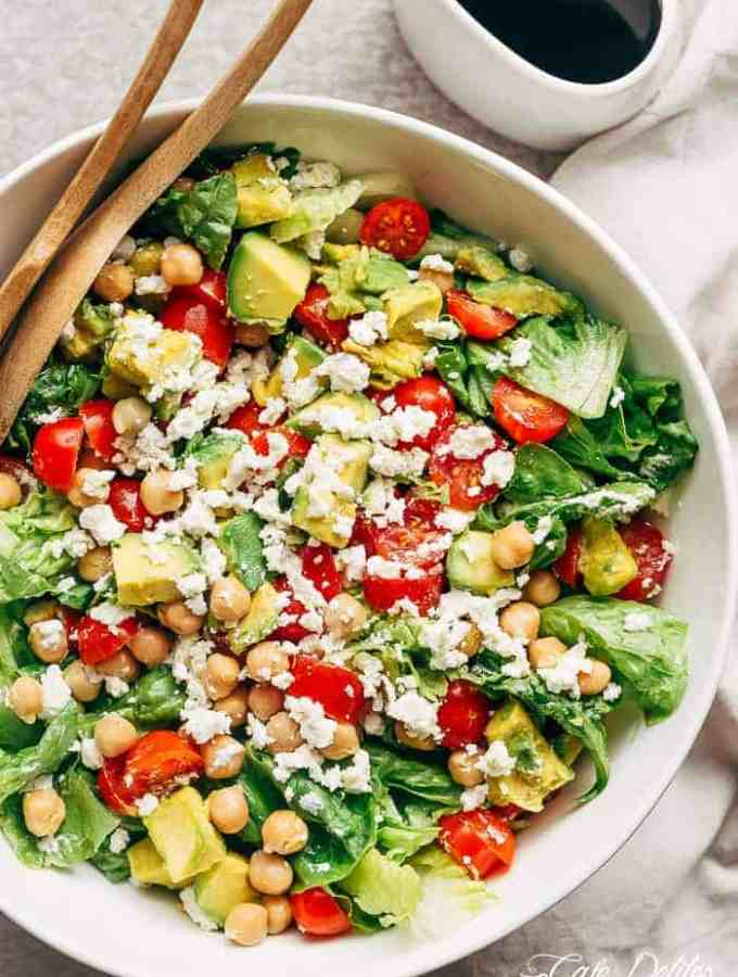 Balsamic Chickpea Avocado Feta Salad