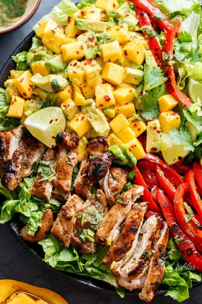 Easy Grilled Cilantro Lime Chicken Salad With A Mango Salsa!   https://cafedelites.com
