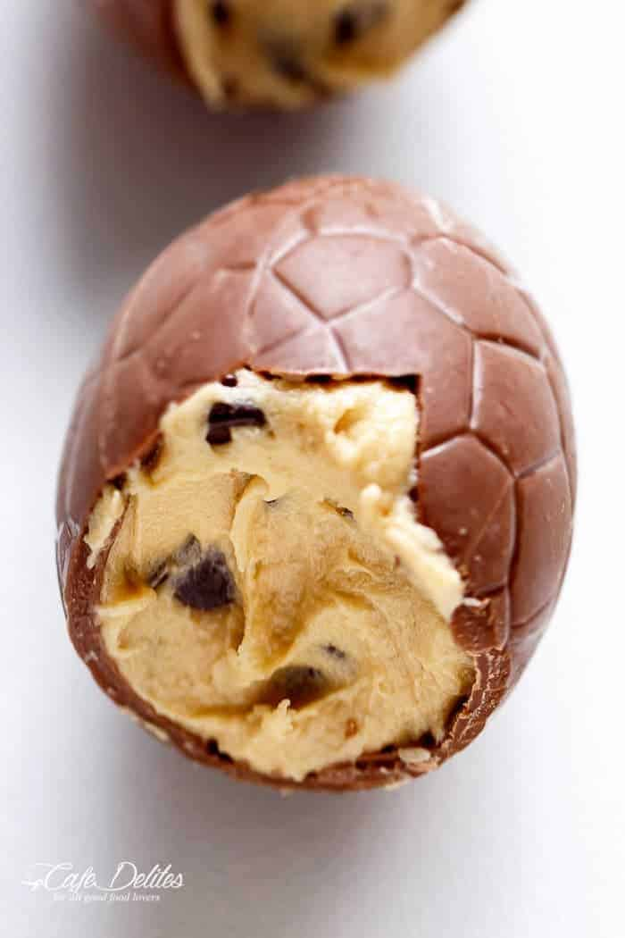 Chocolate Chip Cookie Dough Filled Easter Eggs | https://cafedelites.com