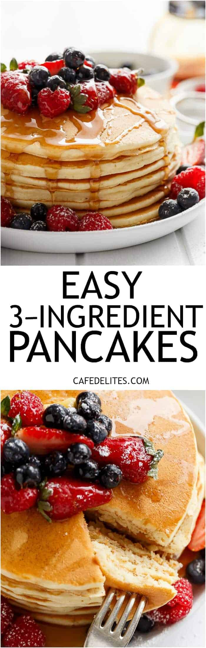 3-Ingredient Pancakes are fluffy and super soft with the added bonus of no oil or butter! Easy to make and so versatile, add in whatever you like! | http://cafedelites.com