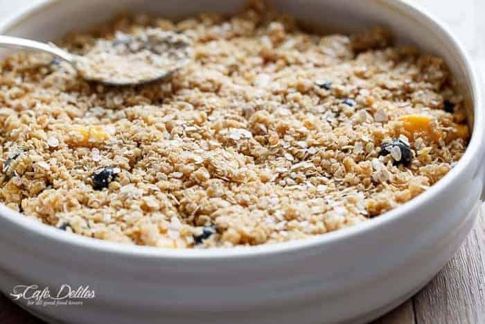 Easy Mango Blueberry Crumble   https://cafedelites.com
