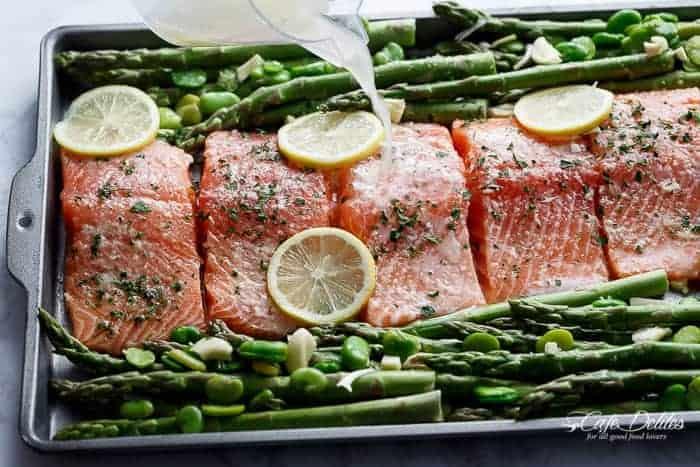 One Pan Lemon Garlic Baked Salmon Asparagus Cafe Delites