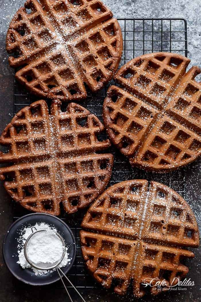 Dark Chocolate Cake Waffles | https://cafedelites.com