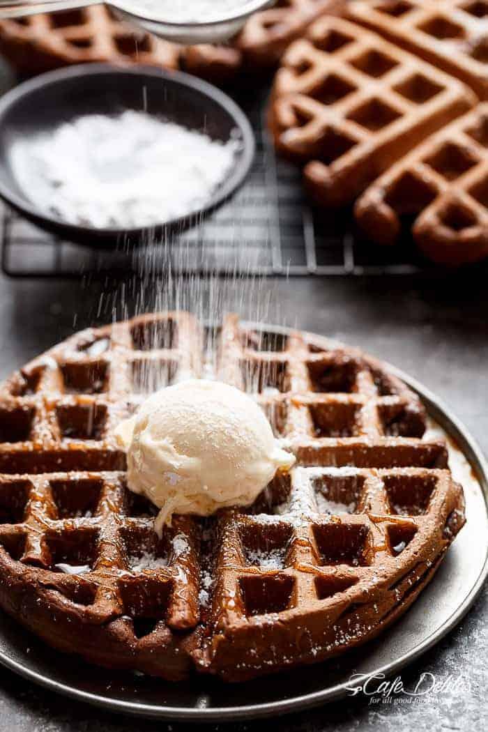 Dark Chocolate Cake Waffles | https://cafedelites.com