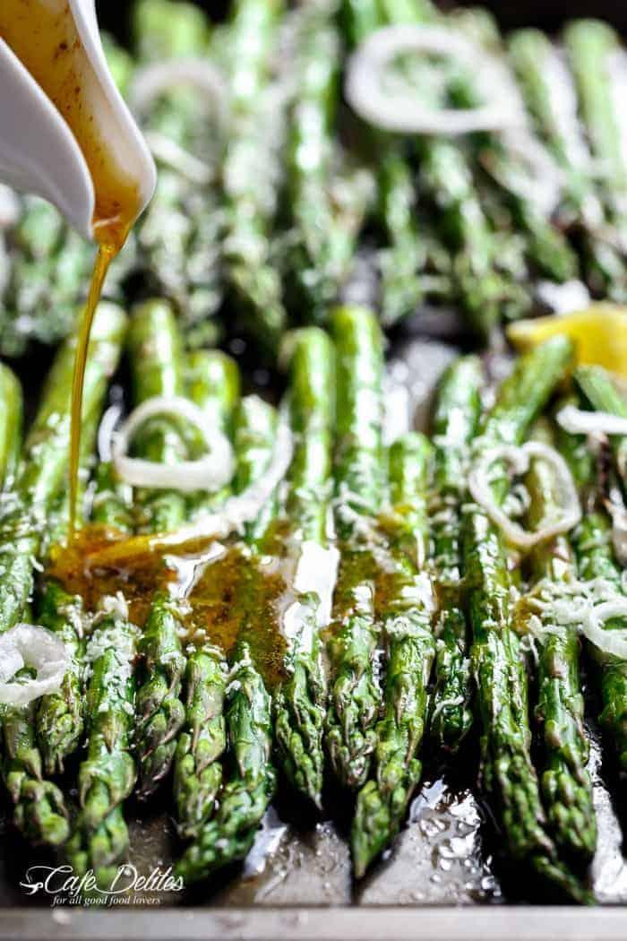 Garlic Browned Butter Baked Asparagus | http://cafedelites.com