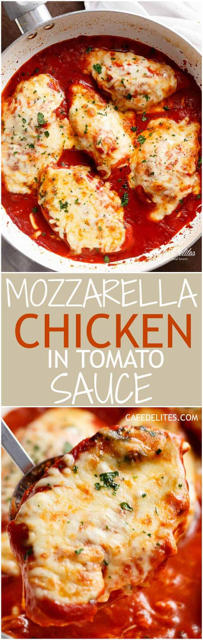 A quick and easy Mozzarella Chicken In Tomato Sauce made in the one skillet in under 15 min! A restaurant quality dinner full of flavour in half the time.   https://cafedelites.com