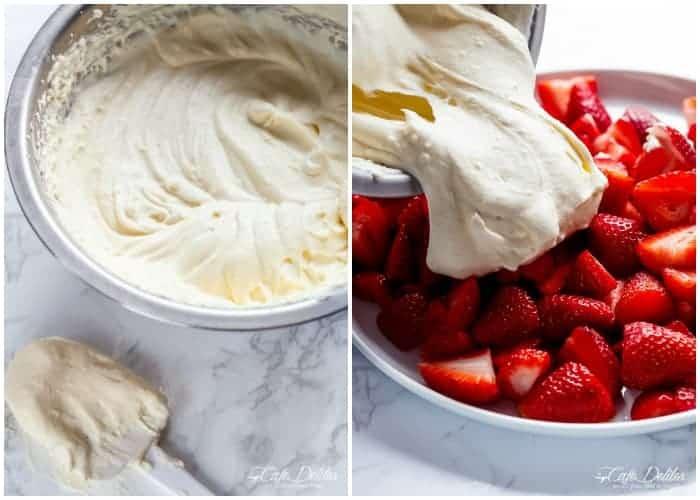 Strawberry Coconut Cheesecake Salad | https://cafedelites.com