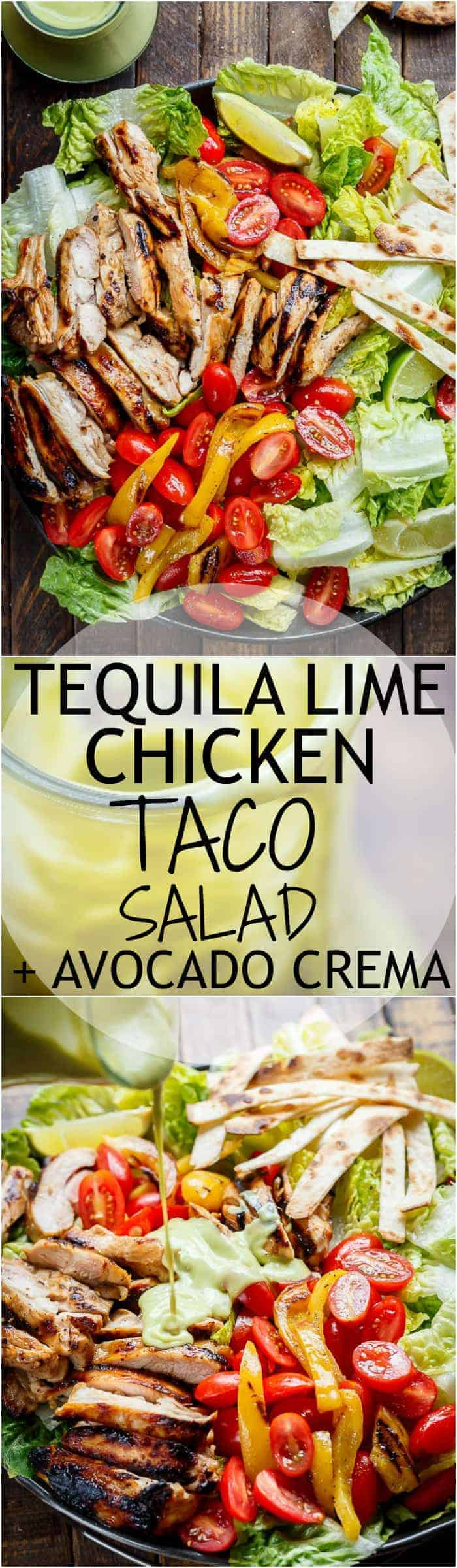 Tequila Lime Chicken Taco Salad with an Avocado Crema spiked with honey, lime and booze. Complete with tortilla strips, have a chicken taco in a salad!   http://cafedelites.com