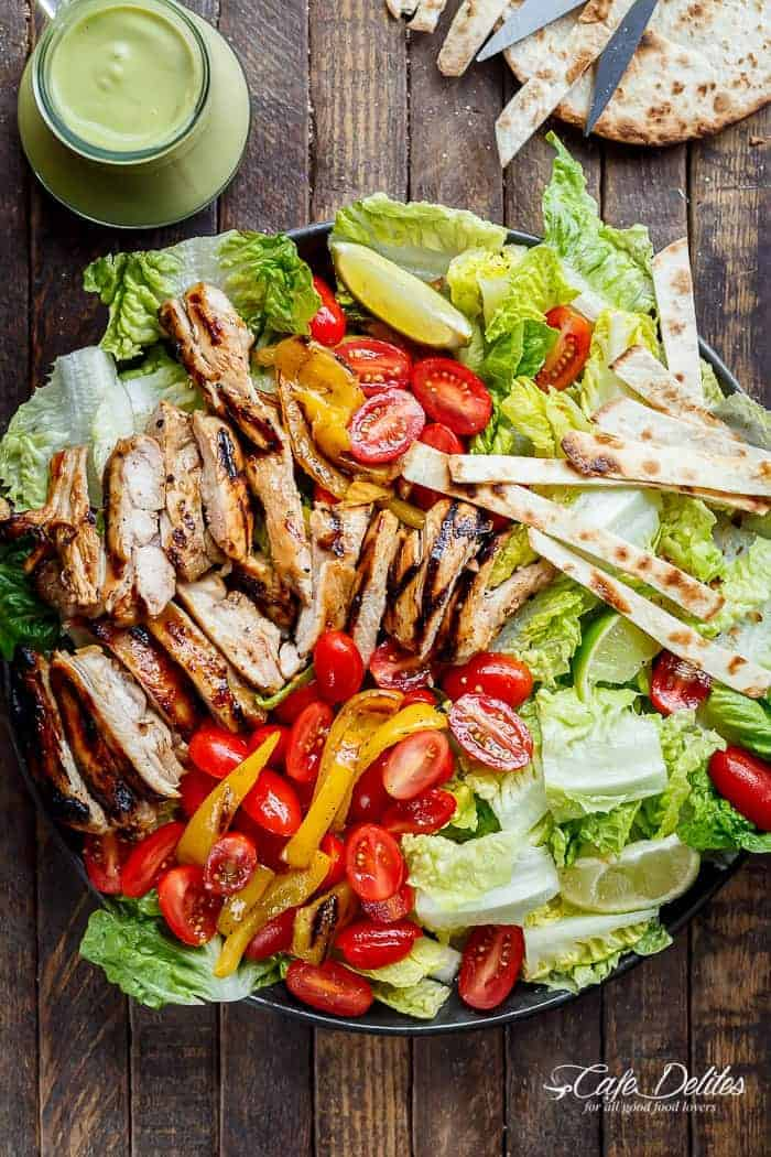 Tequila Lime Chicken Taco Salad | https://cafedelites.com